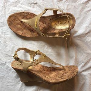 Ralph Lauren Gold Thong Wedge Sandals